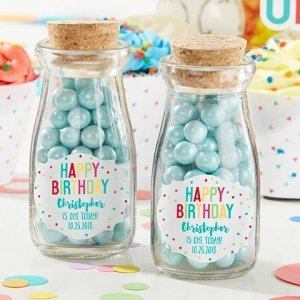 Personalized Happy Birthday Milk Jar (Set of 12) image