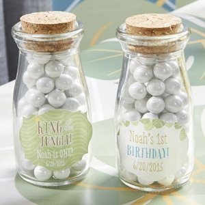 Personalized King of the Jungle Milk Jar Birthday Favors image