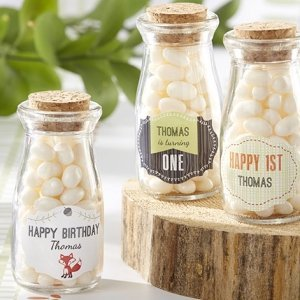Personalized Woodland Theme Milk Jar Favors (Set of 12) image