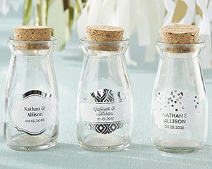 Vintage Milk Bottle Favor Jar - Silver Foil (Set of 12) (Per image