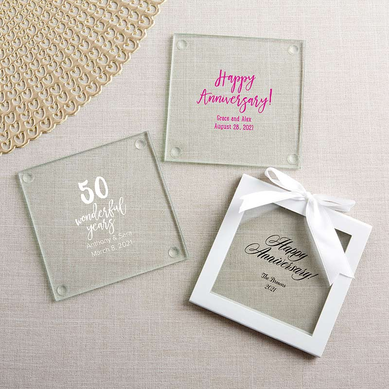 Personalized Glass Coaster - Anniversary (Set of 12) image