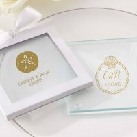 Personalized Beach Tides Glass Coaster Favors (Set of 12)