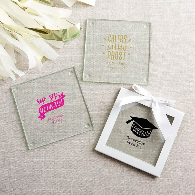 Personalized Glass Coaster - Celebration (Set of 12) image