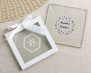 Personalized Modern Classic Glass Coasters (Set of 12) image