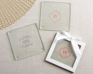 Personalized Modern Romance Glass Coasters (Set of 12) image
