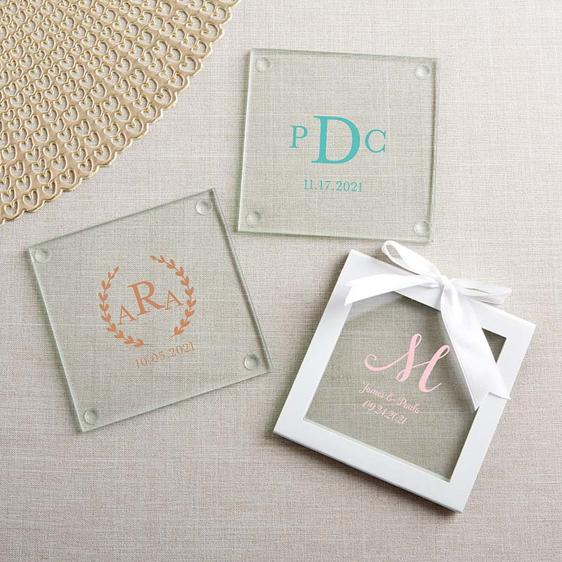Personalized Glass Coaster - Monogram (Set of 12) image