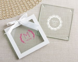 Personalized Rustic Charm Glass Coasters (Set of 12) image