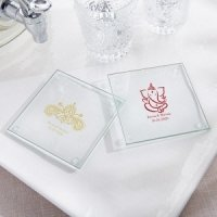 Personalized Indian Jewel Glass Coaster Favors (Set of 12)