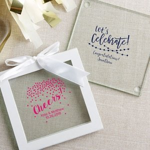 Personalized Party Time Glass Coaster Favors (Set of 12) image
