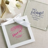 Personalized Party Time Glass Coaster Favors (Set of 12)