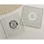 Personalized Romantic Garden Glass Coaster Favors (Set of 12