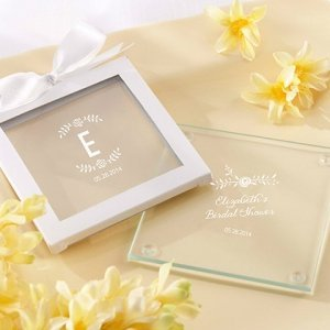 Personalized Rustic Bridal Shower Glass Coasters Set Of 12