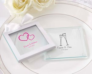 Personalized Glass Wedding Coasters (Set of 12) image