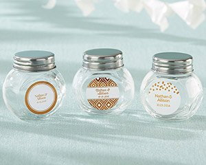 Personalized Copper Foil Mini Glass Favor Jar (Set of 12) image