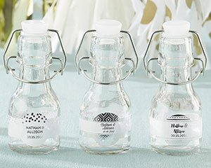 Mini Glass Silver Foil Favor Bottle with Swing Top (Set of 1 image