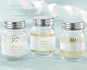 Personalized Mini Mason Jar - Gold Foil (Set of 12) image