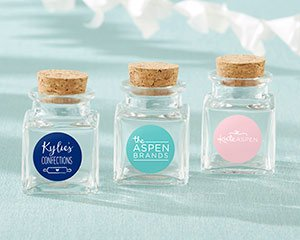 Personalized Petite Treat Square Glass Favor Jar - Custom De image