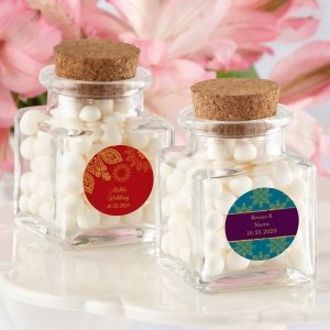 Indian Jewel Square Glass Favor Jars (Set of 12) image