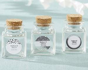 Petite Silver Foil Treat Square Glass Favor Jar (Set of 12) image