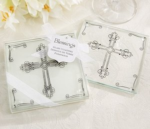 Blessings Cross Themed Glass Coasters (Set of 2) image
