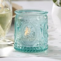 Vintage Inspired Blue Glass Tealight Holder (Set of 4)