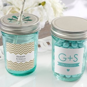 Personalized Blue Mason Jars with Lids (Set of 12) image