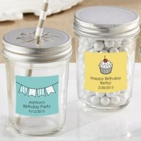Personalized Glass Mason Jar Birthday Party Favors