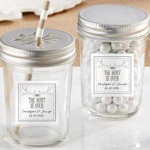 Personalized 'The Hunt is Over' Mason Jar Wedding Favors image