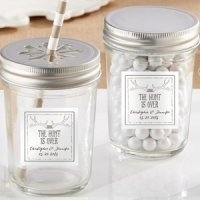Personalized 'The Hunt is Over' Mason Jar Wedding Favors