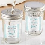 Personalized 'He Asked She Said Yes' Mason Jar (Set of 12)