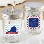 Personalized Nautical Birthday Mason Jar Favors (Set of 12)