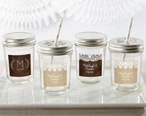 Personalized Rustic Charm Wedding Mason Jar (Set of 12) image