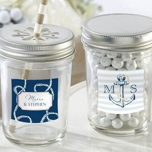 Nautical Theme Personalized Mason Jars with Lids (Set of 12) image