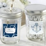 Nautical Theme Personalized Mason Jars with Lids (Set of 12)