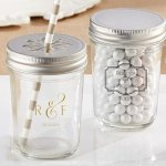 Personalized Classic Wedding Design Mason Jars (Set of 12)