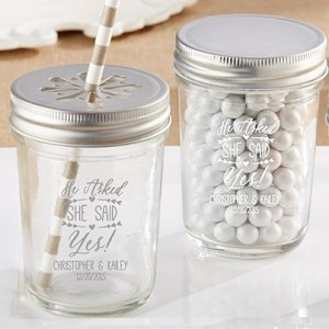 Personalized 'He Asked She Said Yes' Mason Jars (Set of 12) image