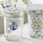 Personalized Nautical Printed Mason Jar Favors (Set of 12)