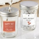 Personalized Woodland Birthday Mason Jar Favors (Set of 12)