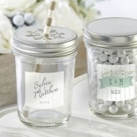 Rustic Theme Personalized Mason Jars with Lids (Set of 12)