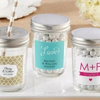 Personalized Clear Mason Jars with Lids (Set of 12)