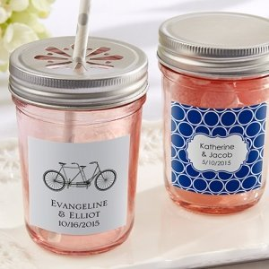 Personalized Pink Mason Jars with Lids (Set of 12) image