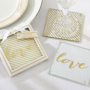Gold Love Glass Coaster Favors image