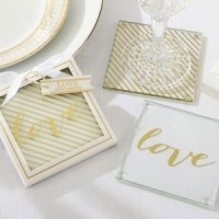 Gold Love Glass Coaster Favors