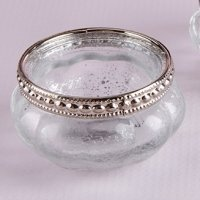 Petite Glass Tea Light Holder with Silver Fleck (Set of 4)