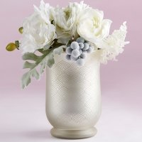 Light Champagne Frosted and Etched Pattern Glass Vase