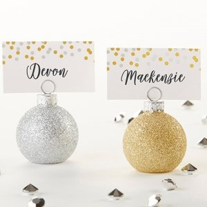 Silver and Gold Ornaments Place Card Holders (Set of 6) image
