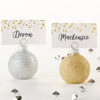 Silver and Gold Ornaments Place Card Holders (Set of 6)