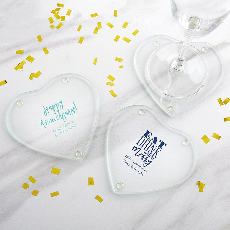 Personalized Anniversary Glass Heart Coasters (Set of 12) image
