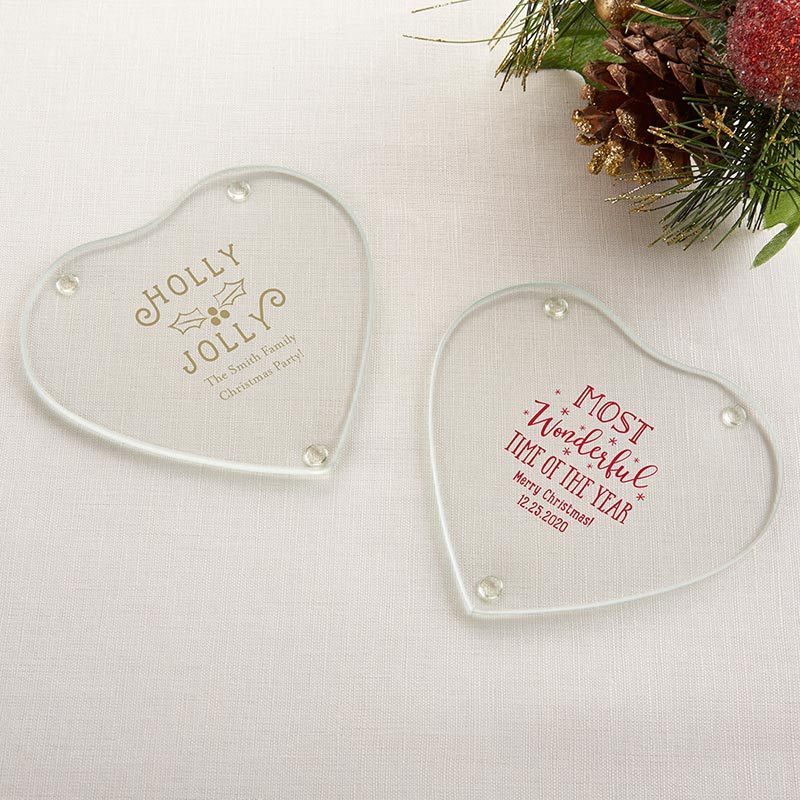 Personalized Holiday Glass Heart Coaster (Set of 12) image
