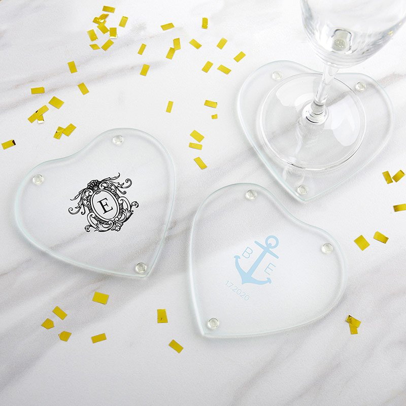 Personalized Monogram Glass Heart Coaster (Set of 12) image